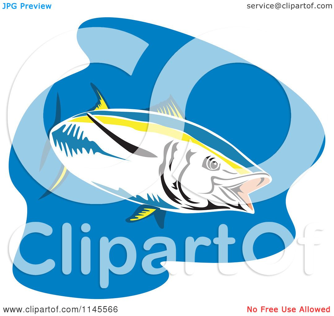 Clipart of a Yellowfin Tuna Fish over Blue - Royalty Free Vector ...