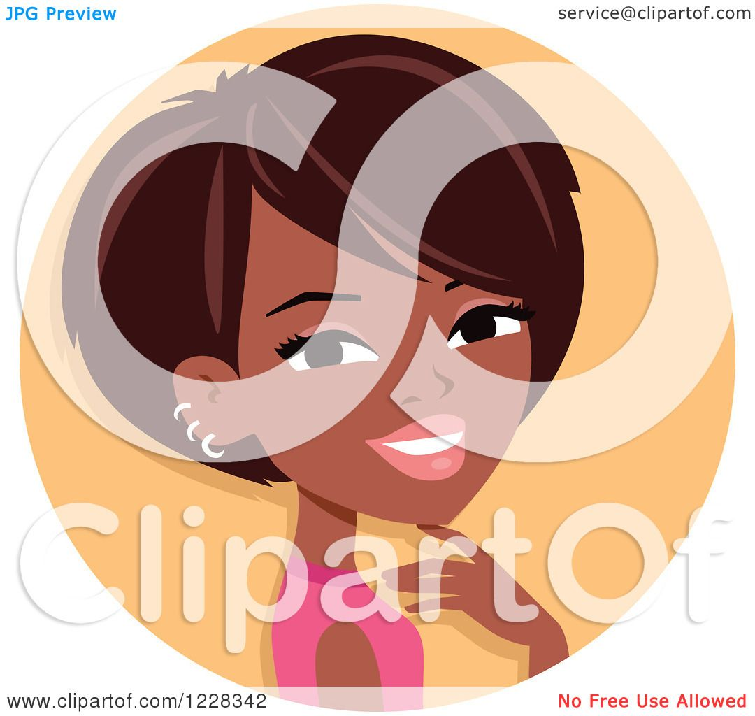 Clipart Of A Young Black Woman With Short Hair Avatar