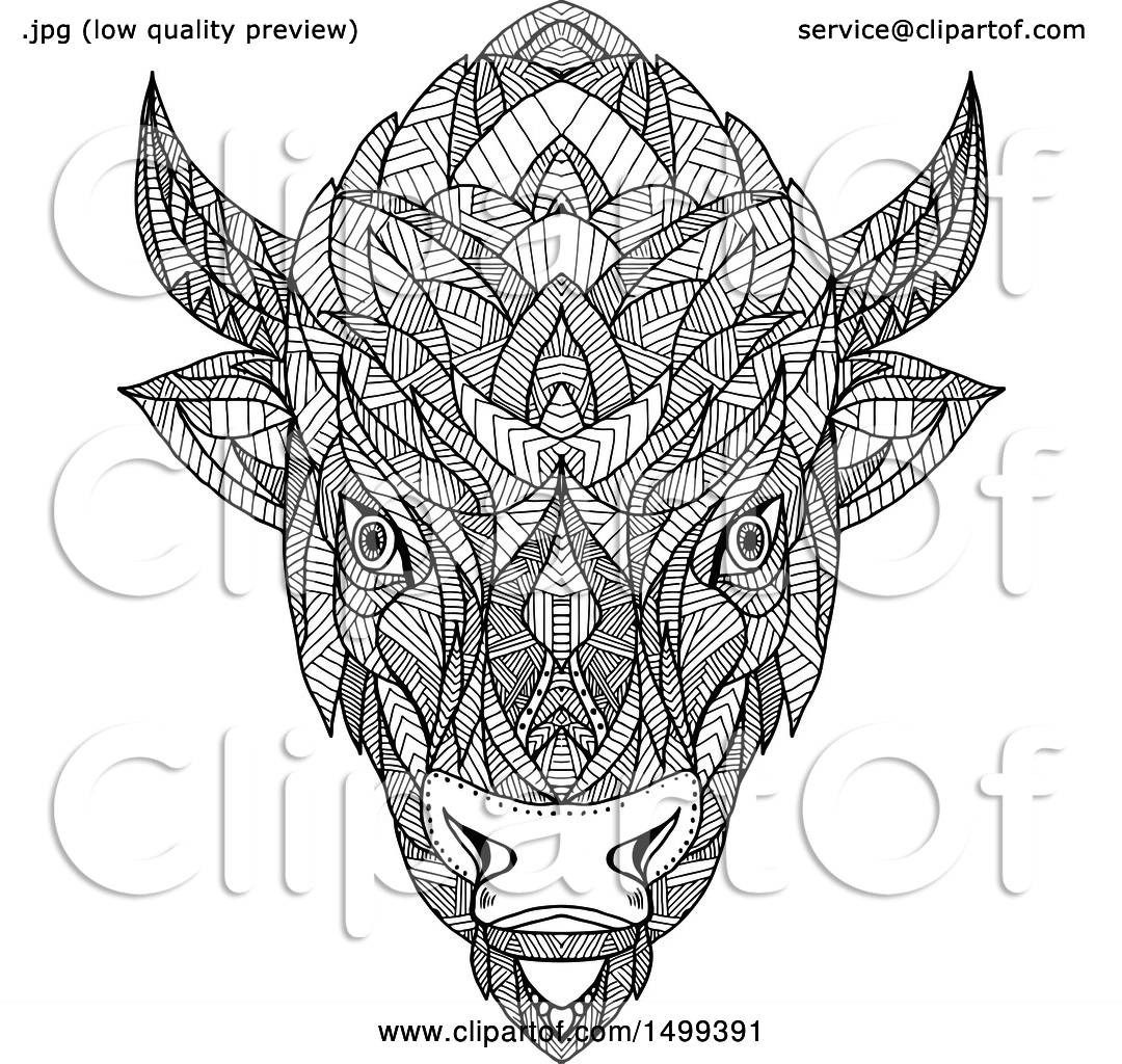 Clipart Of A Zentangle Black And White American Bison Head