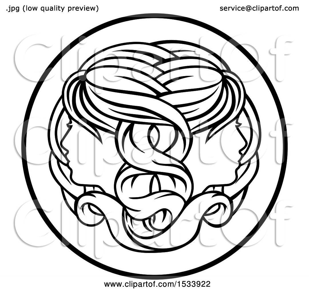 Clipart of a zodiac horoscope astrology gemini twins circle design clipart of a zodiac horoscope astrology gemini twins circle design in black and white royalty free vector illustration by atstockillustration biocorpaavc Images