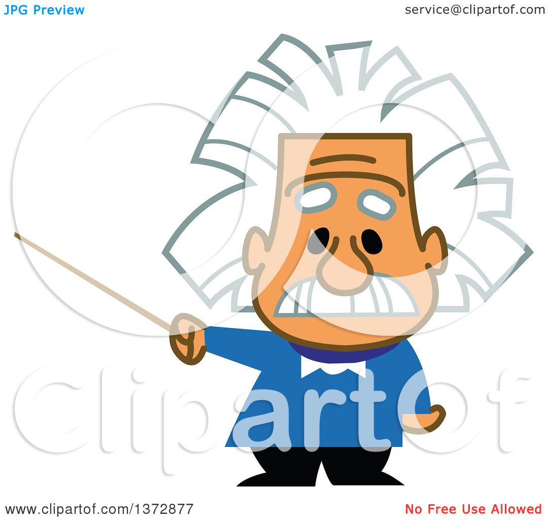 clipart of albert einstein holding a pointer stick royalty free rh clipartof com Quotes From Albert Einstein physik albert einstein clipart
