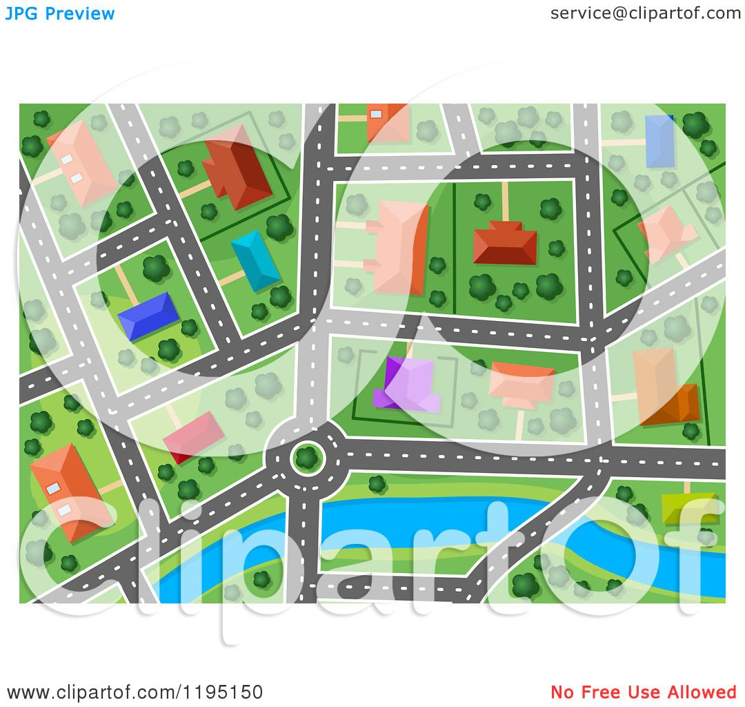 Maps Aerial Free Clipart of an Aerial Map of a