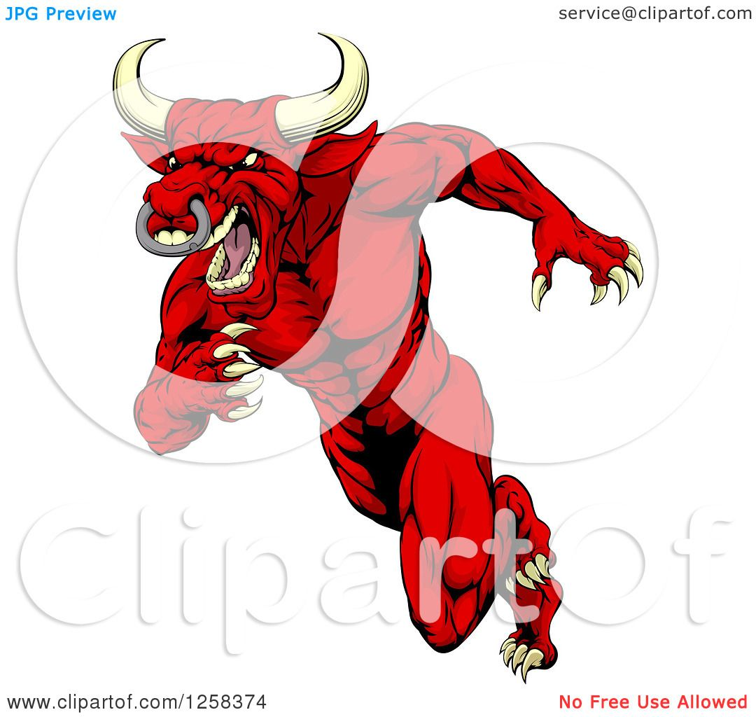 Clipart Of An Aggressive Angry Red Bull Man Mascot Running