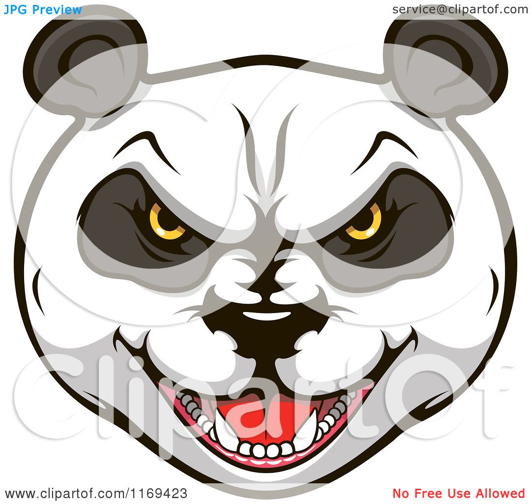 Clipart of an aggressive giant panda face 2 royalty free vector illustration by vector - Clipart visage ...