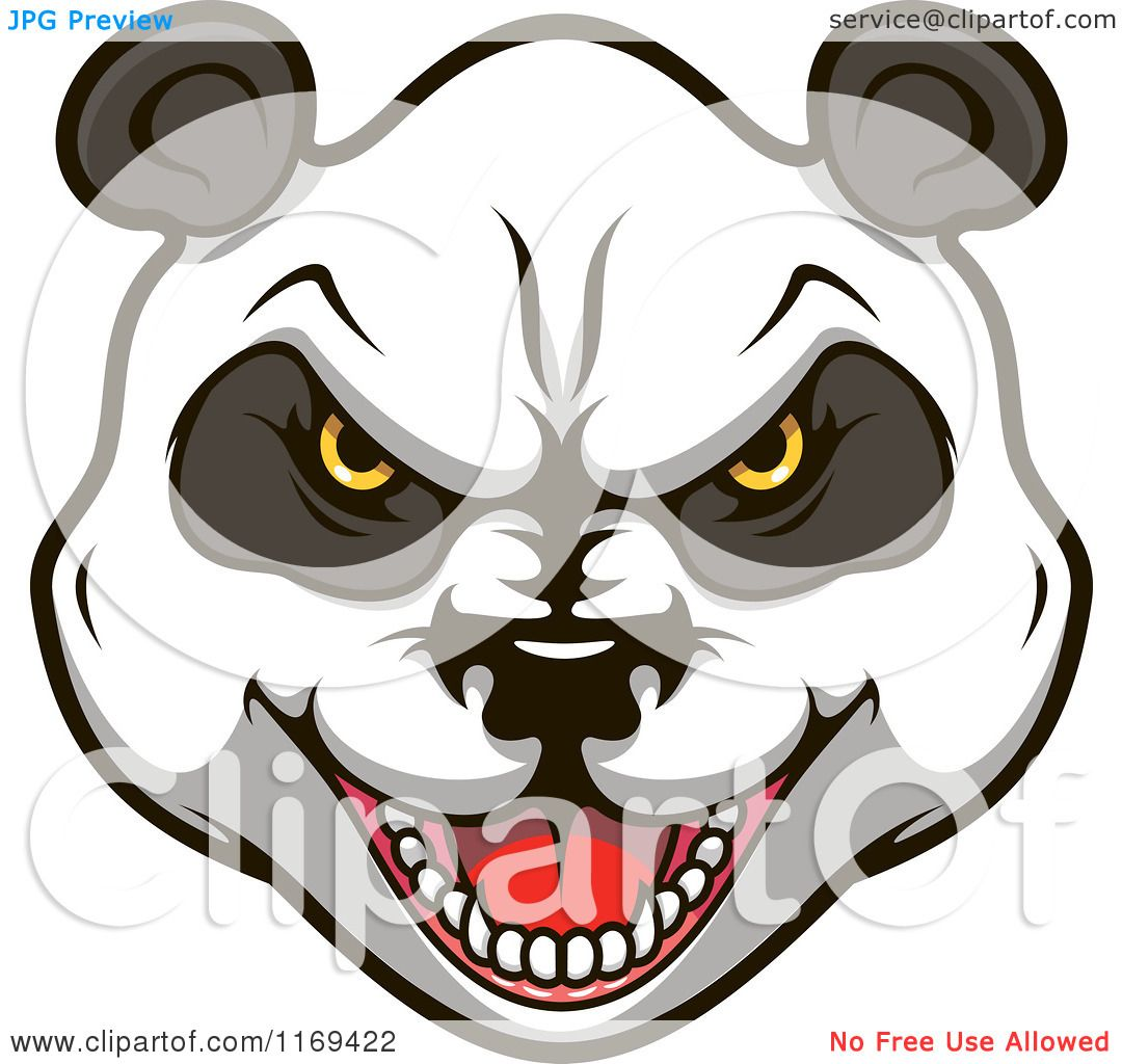 Clipart Of An Aggressive Giant Panda Face Royalty Free