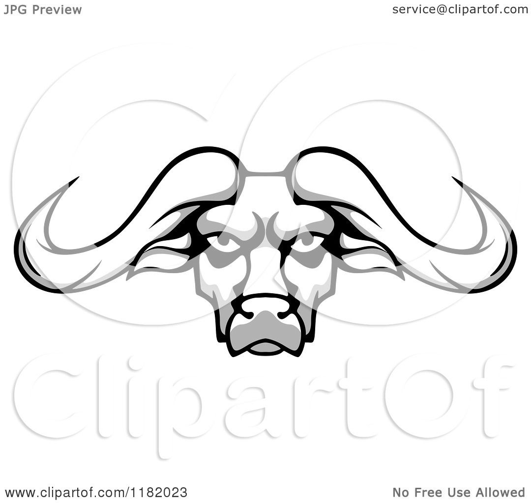 Clipart of an Aggressive Grayscale Buffalo Head with Long