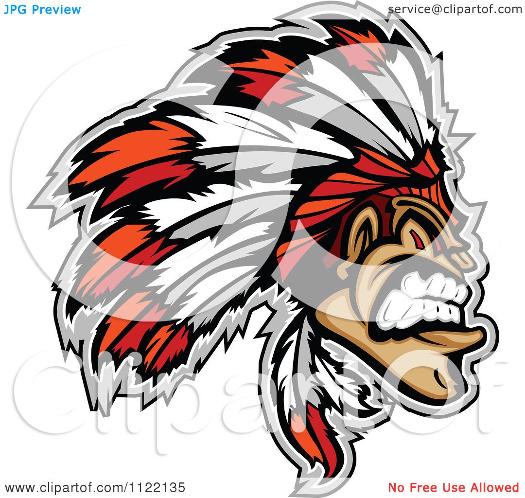 Clipart Of An Aggressive Native American Indian Chief - Royalty ...