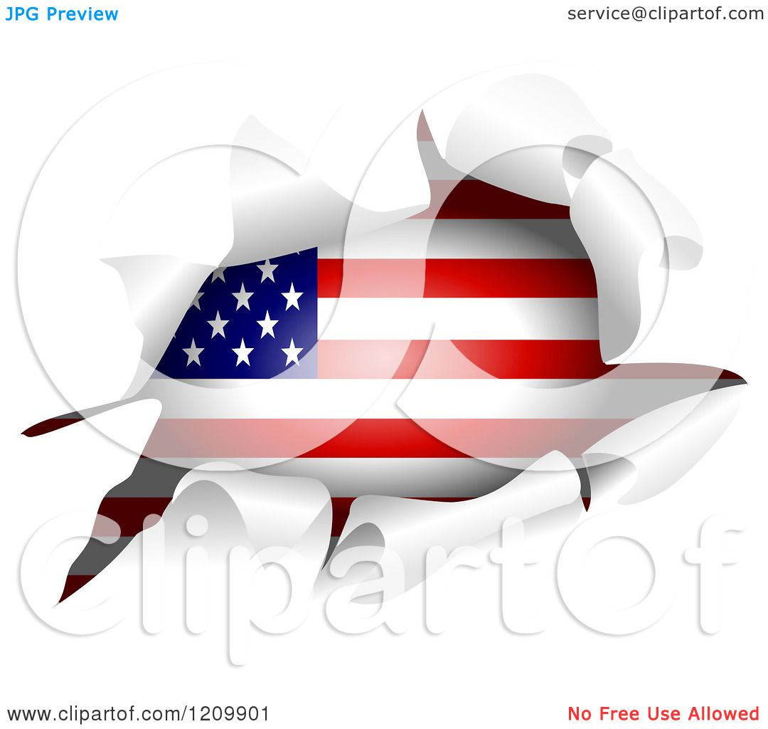 Clipart Of An American Flag Through A Ripped Hole