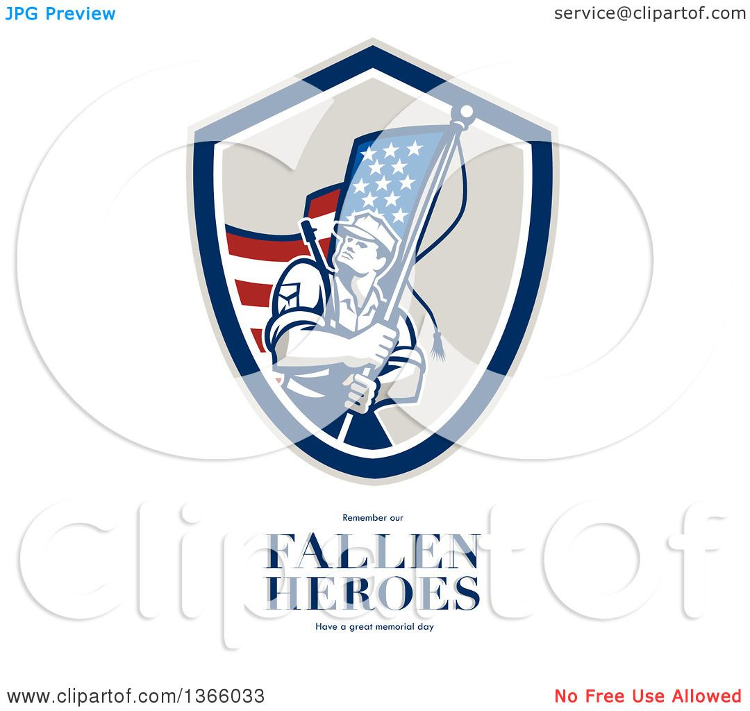 Clipart Of An American Soldier Weilding A Flag Over