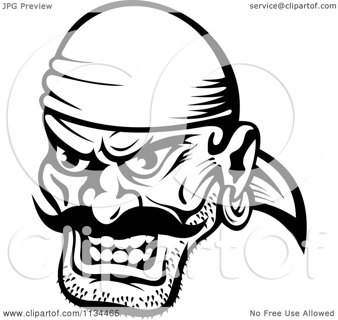 clipart of an angry black and white pirate face 1 royalty free
