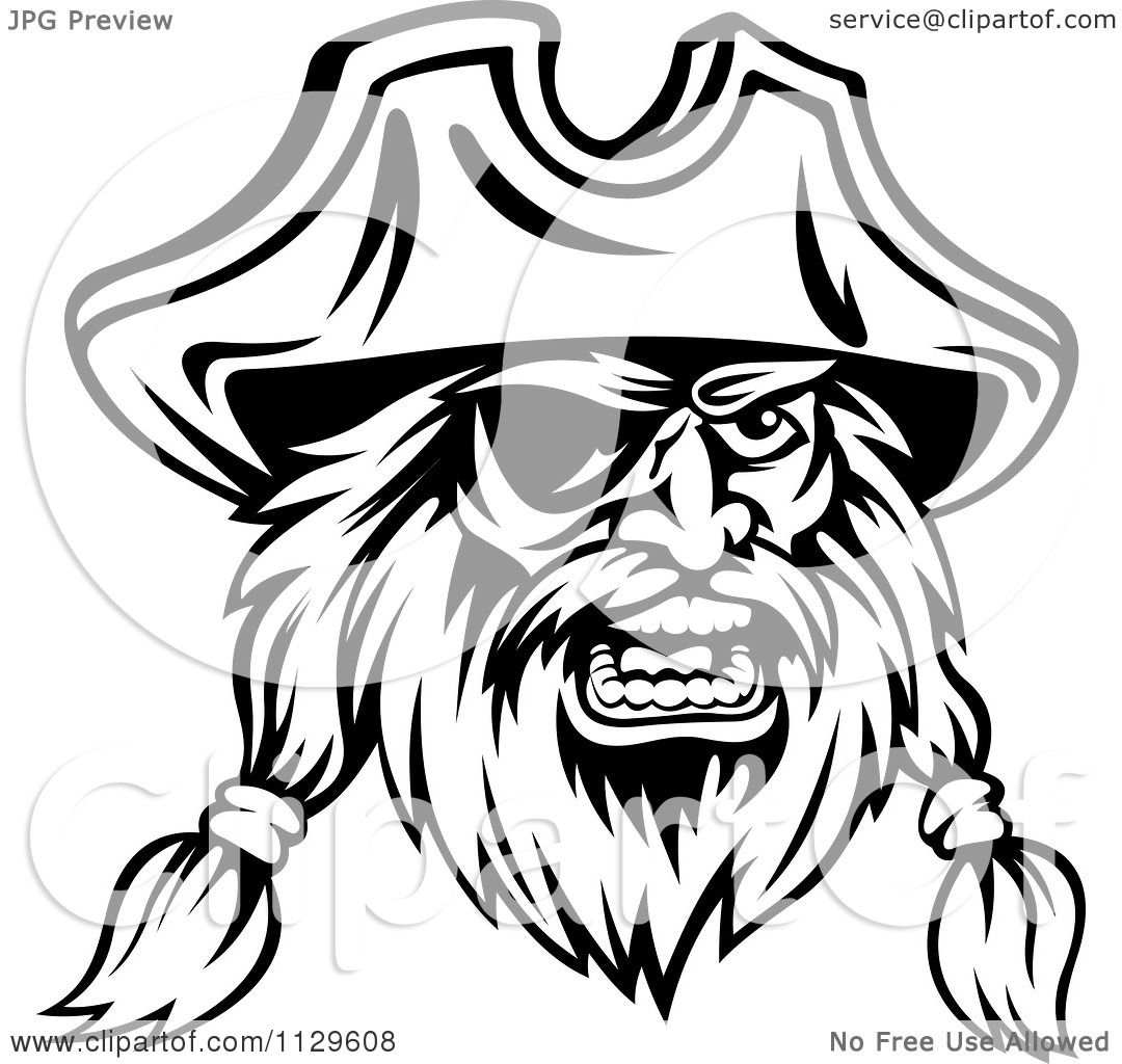 clipart of an angry black and white pirate face with an