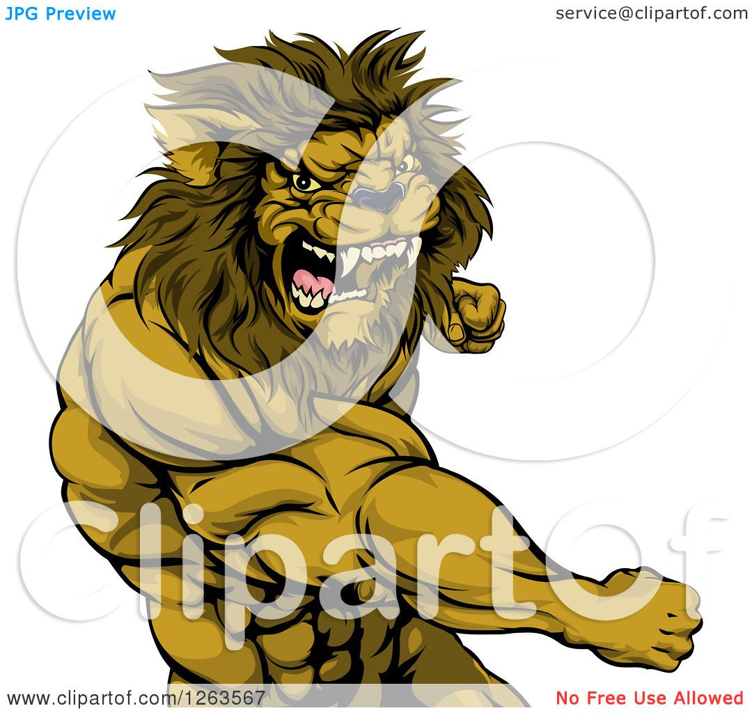 Clipart Of An Angry Muscular Lion Man Punching Royalty