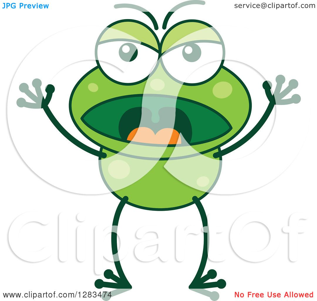Clipart of an Angry Yelling Green Frog - Royalty Free Vector