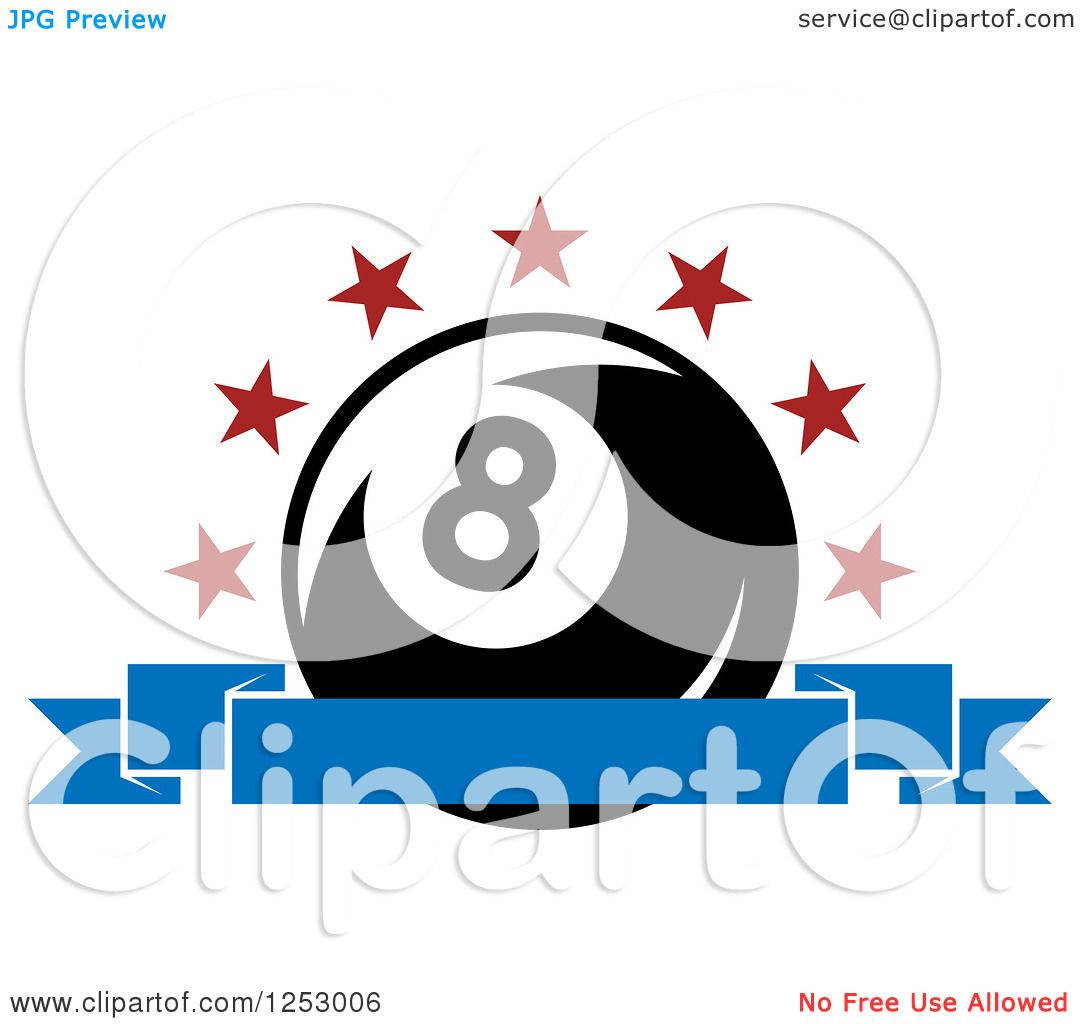 Clipart of an Arch of Stars and Banner over a Billiards ...
