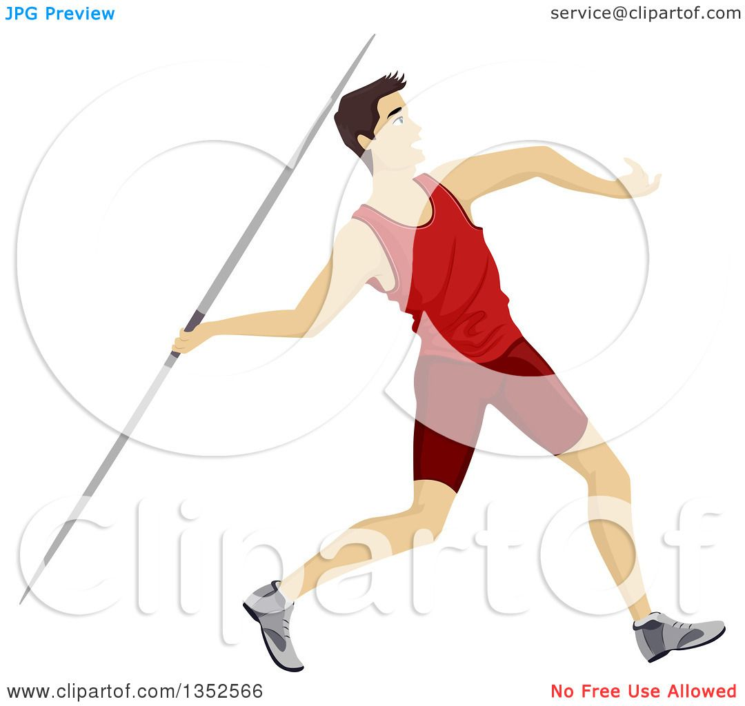 Clipart of an Athletic White Teenage Boy Throwing a Javelin ...