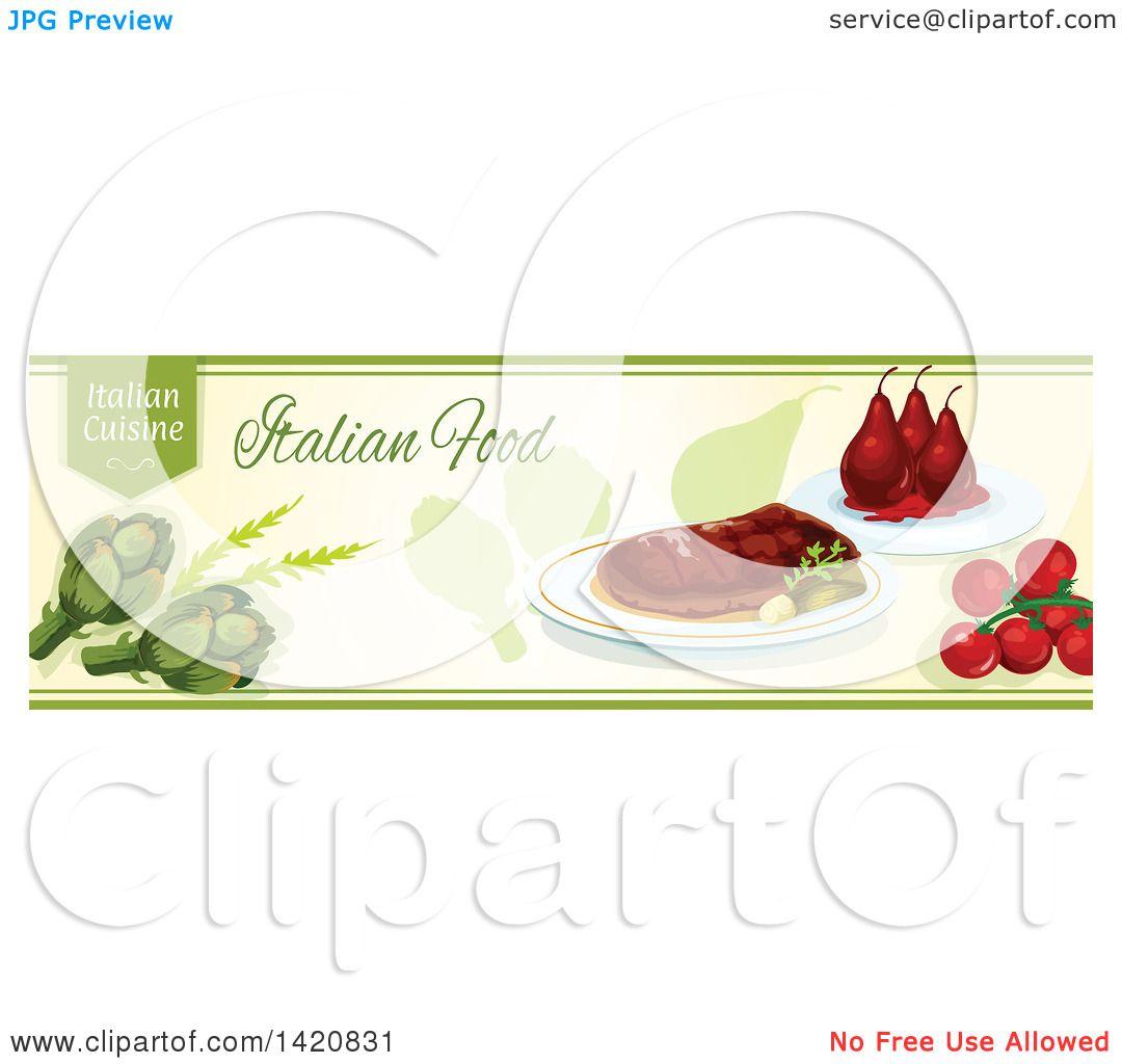 Clipart of an Italian Food Menu Header or Border - Royalty ...