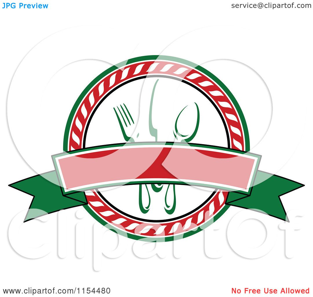Italian Restaurant Logo With Flag: Clipart Of An Italian Restaurant Logo 3