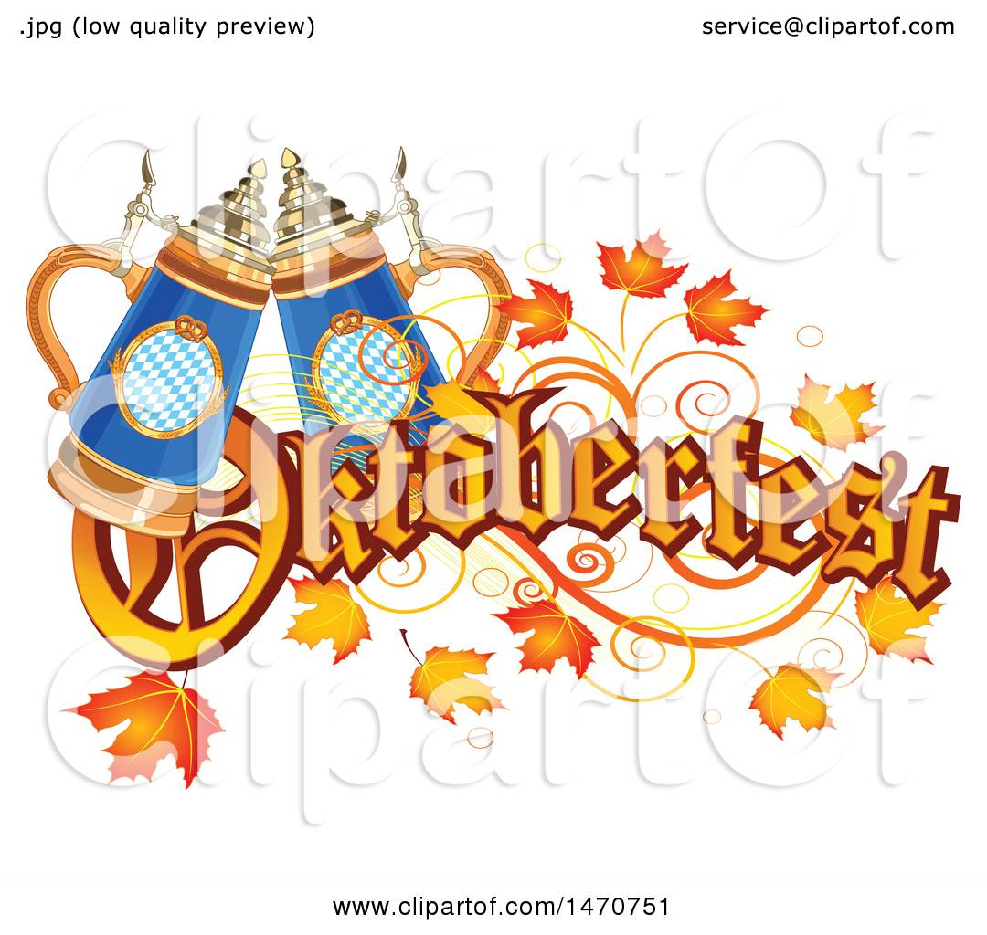 Clipart of an Oktoberfest Text Design with Leaves and Beer ...
