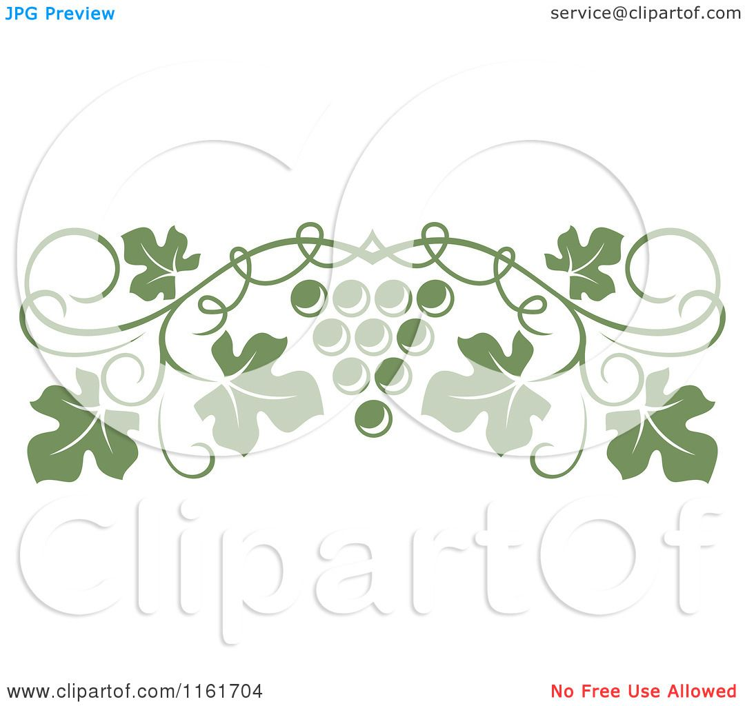 Clipart Of An Olive Green Grape Vine And Fruit Page Border Royalty