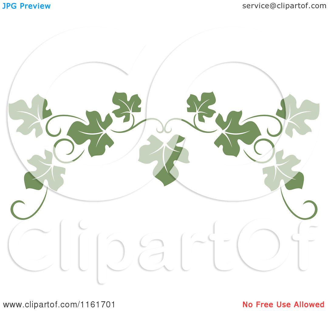 Clipart Of An Olive Green Grape Vine Page Border Royalty Free
