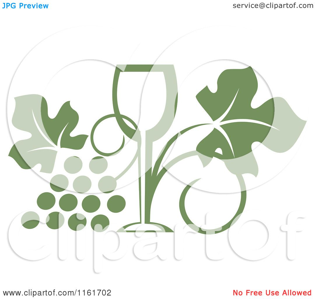 Clipart of an Olive Green Wine Glass and Grape Vine - Royalty Free ...