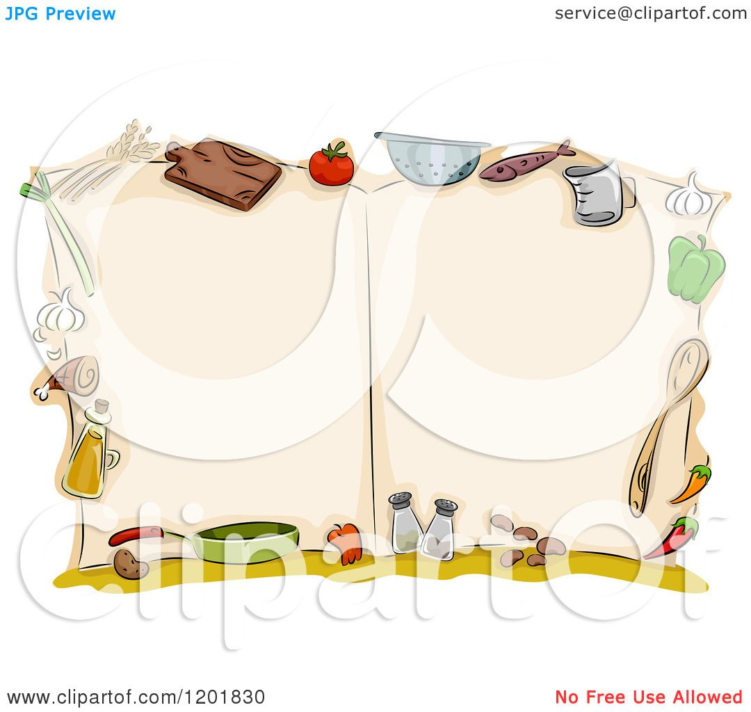 Food Book Cover Vector ~ Clipart of an open cook book with kitchen utensils and