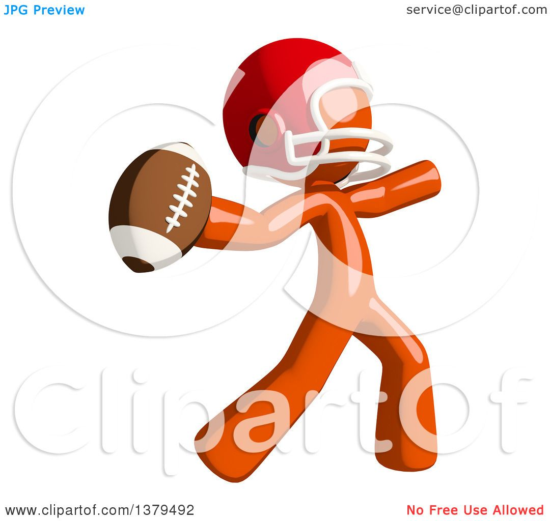 Clipart Of An Orange Man Football Player Throwing A Ball Royalty