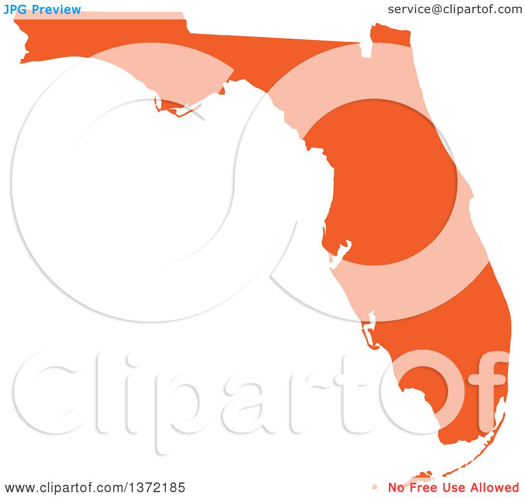 Clipart of an Orange Silhouetted Map Shape of the State of