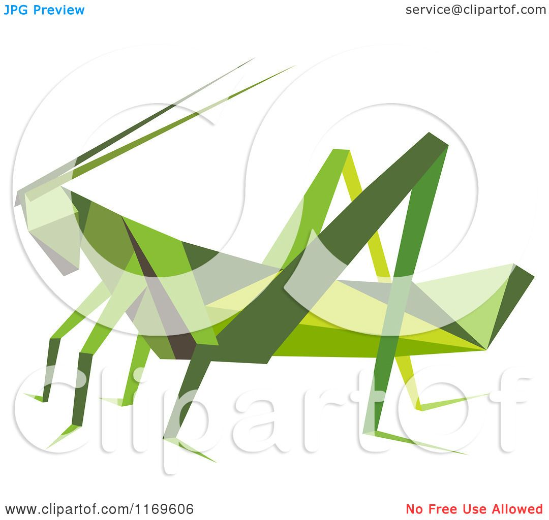 Clipart Of An Origami Grasshopper