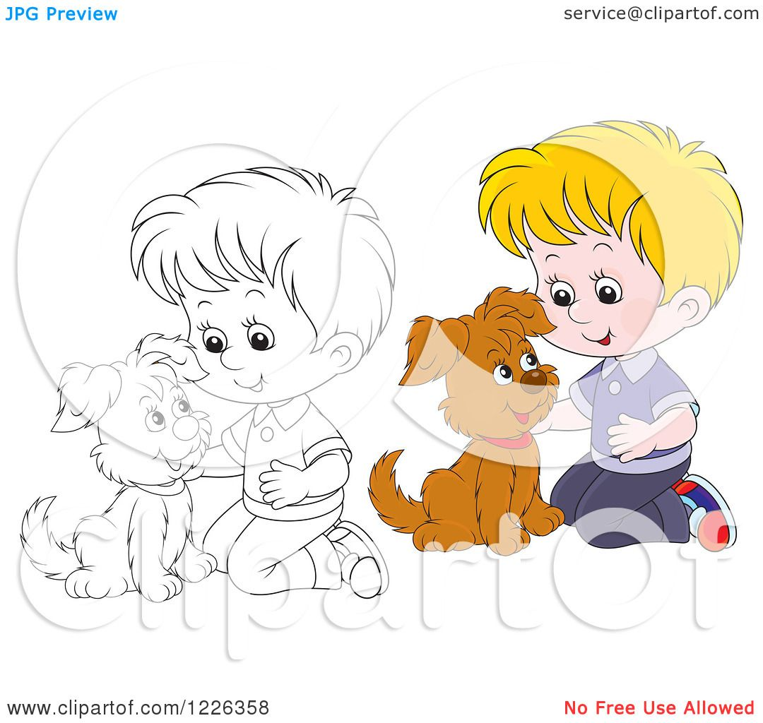 Clipart Of An Outlined And Colored Boy Kneeling Petting A Puppy