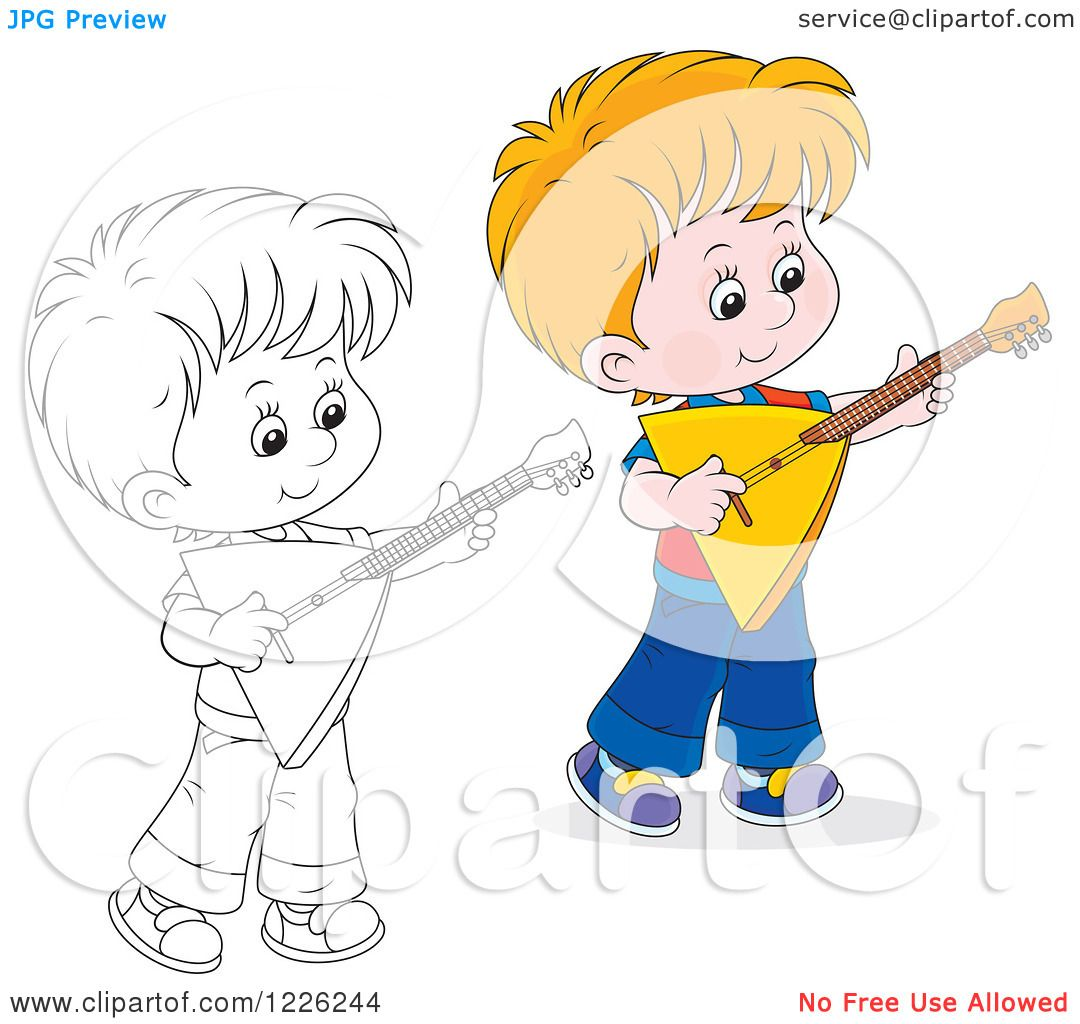 Clipart Of An Outlined And Colored Boy Playing A Balalaika Guitar