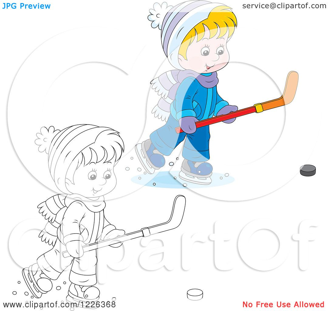 Clipart Of An Outlined And Colored Boy Playing Ice Hockey