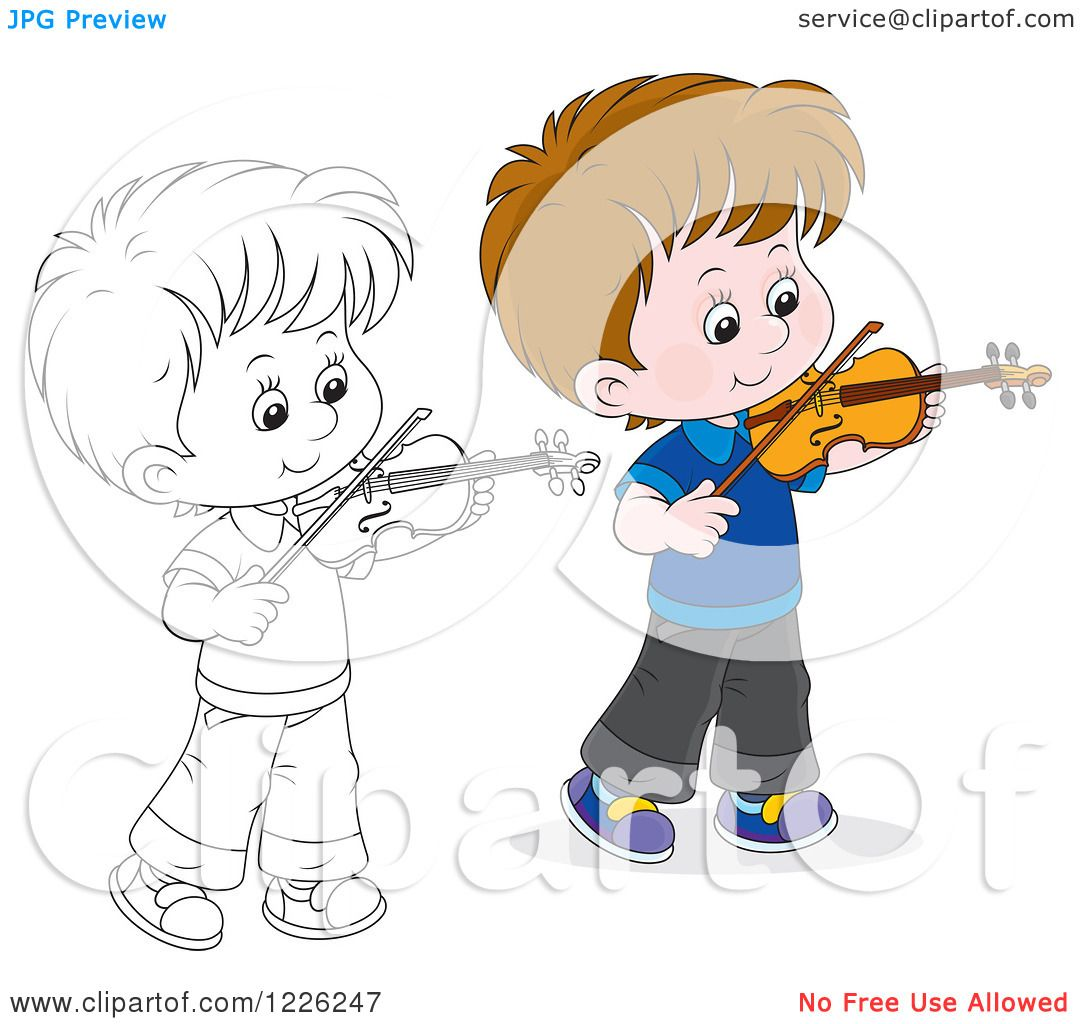 Clipart Of An Outlined And Colored Boy Violinist