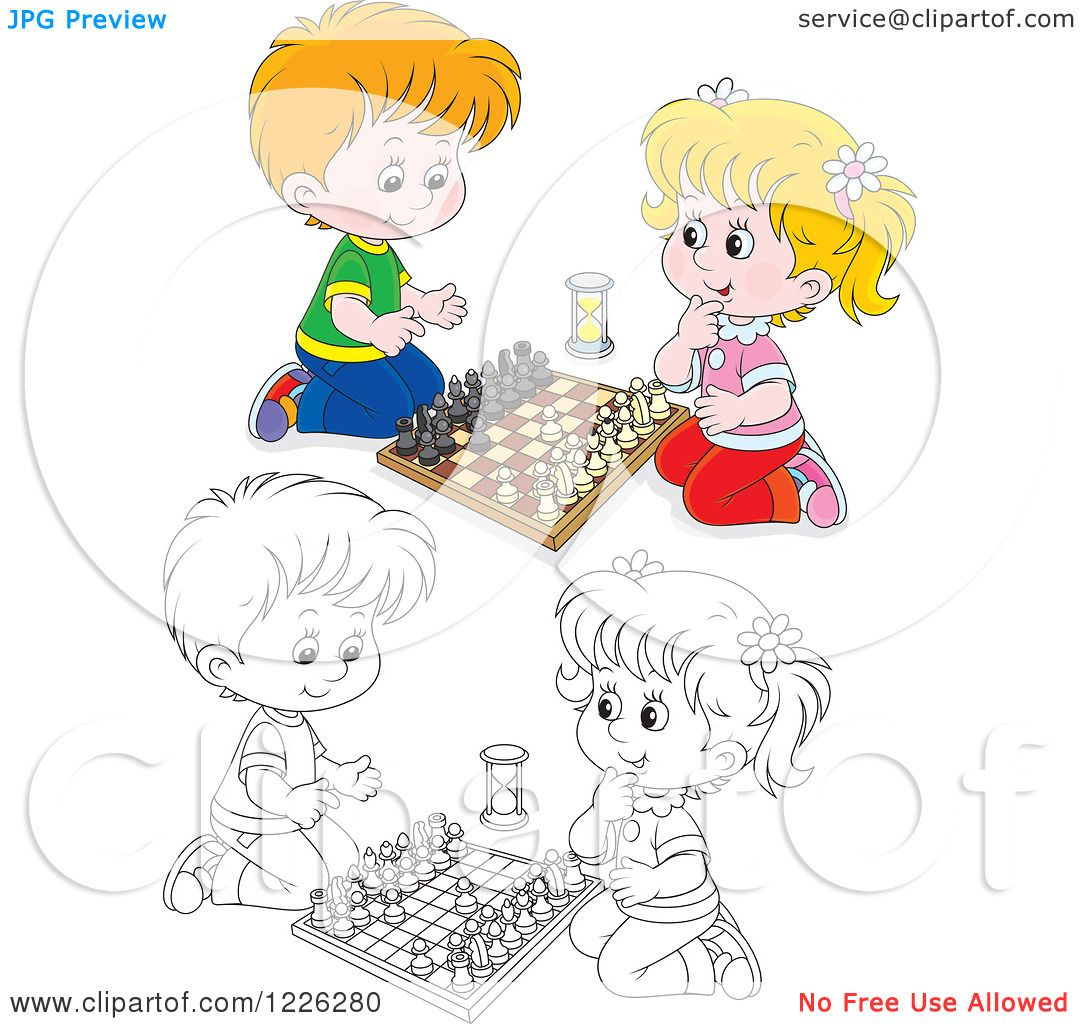 Clipart Of An Outlined And Colored Happy Boy Girl Playing Chess
