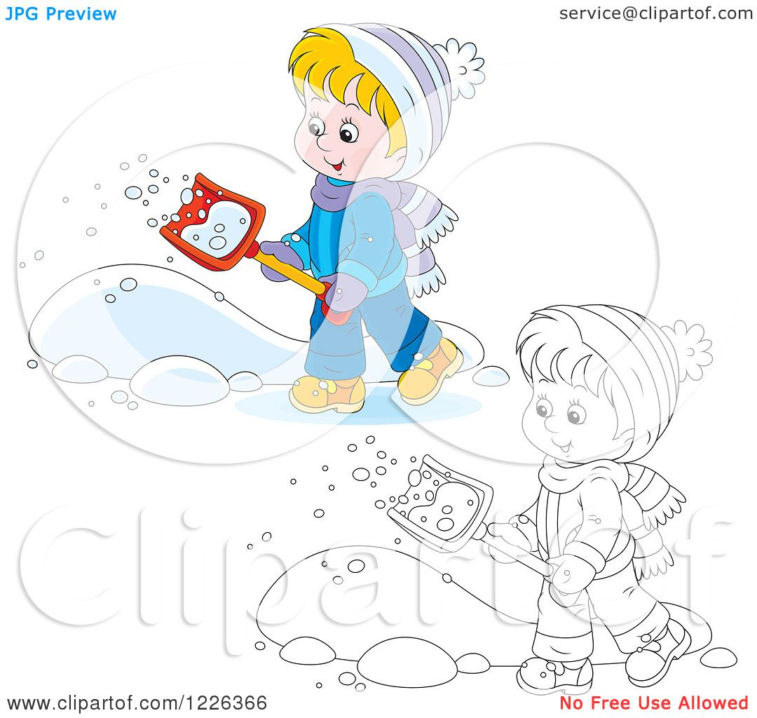 Clipart Of An Outlined And Colored Happy Boy Shoveling Snow