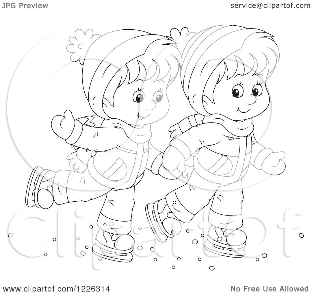 Clipart of an Outlined Boy and Girl Holding Hands and Ice Skating