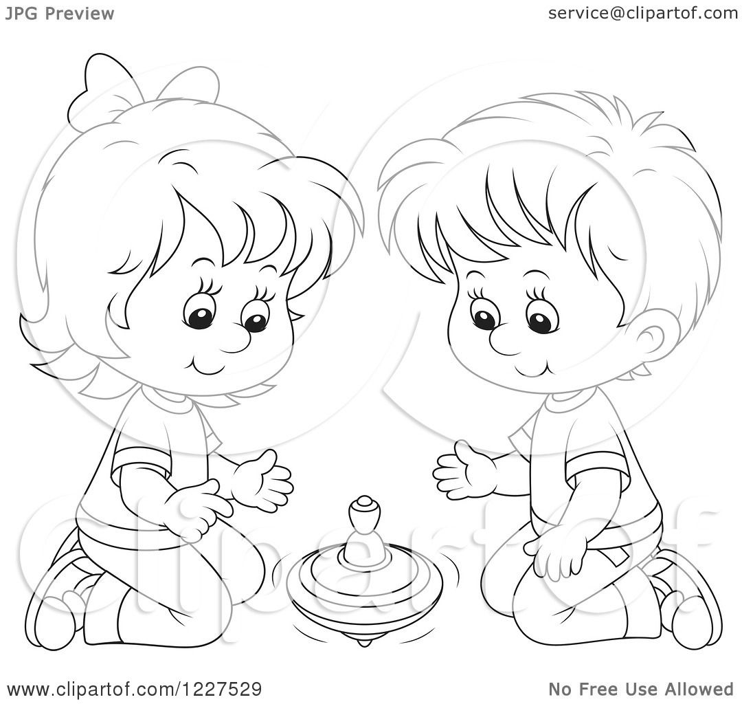 Clipart Of An Outlined Boy And Girl Playing With A Toy Top