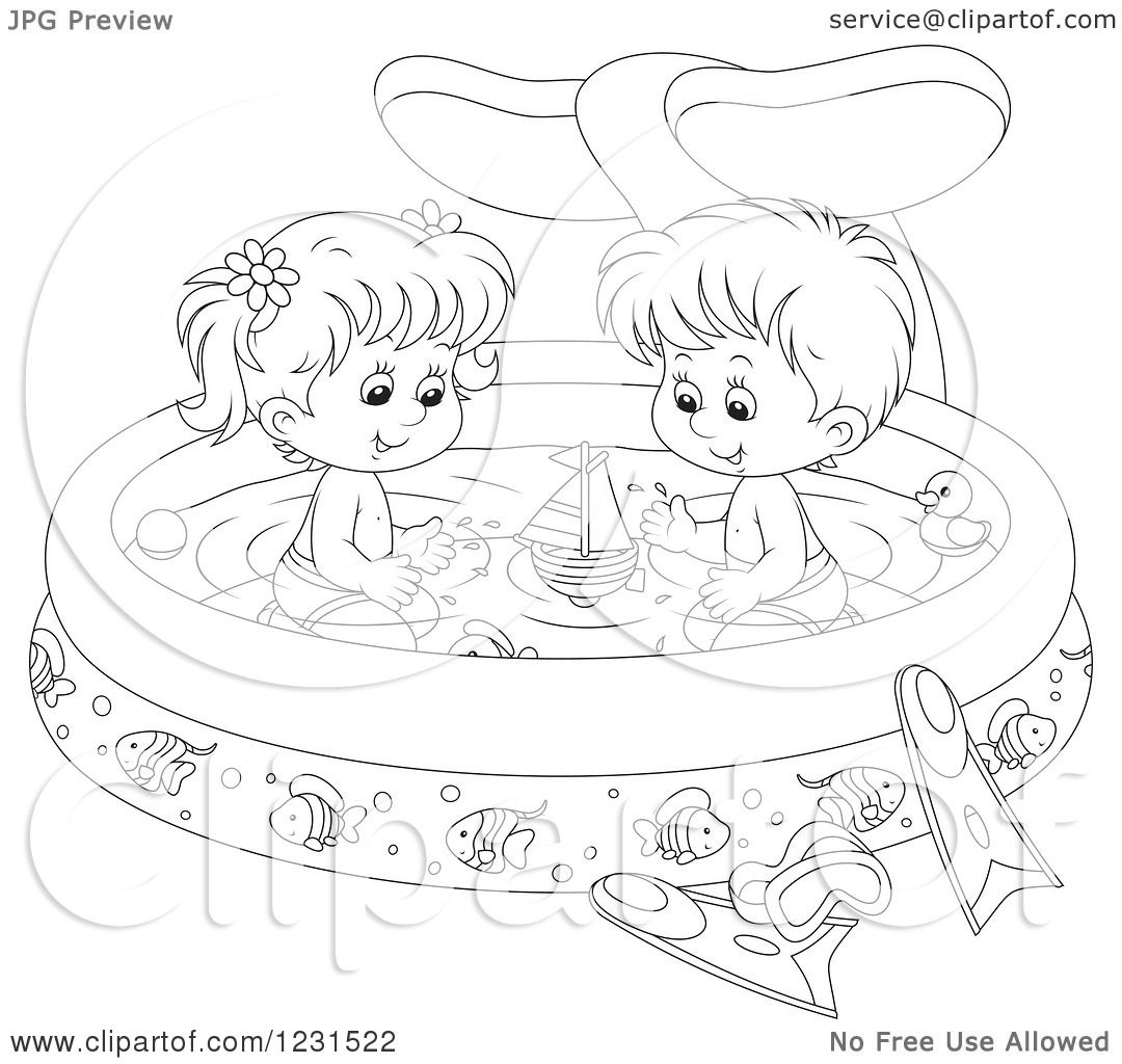 boy swimming coloring pages - clipart of an outlined boy and girl with toys in a whale