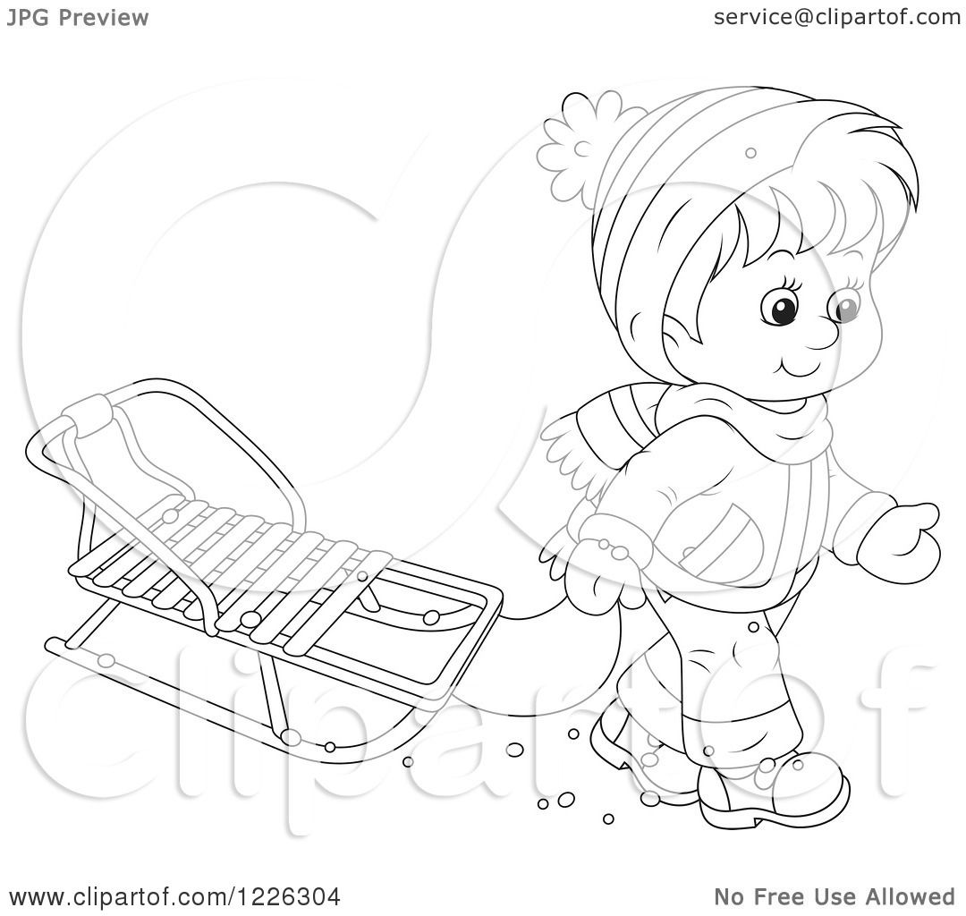 clipart of an outlined boy pulling a sled royalty free vector