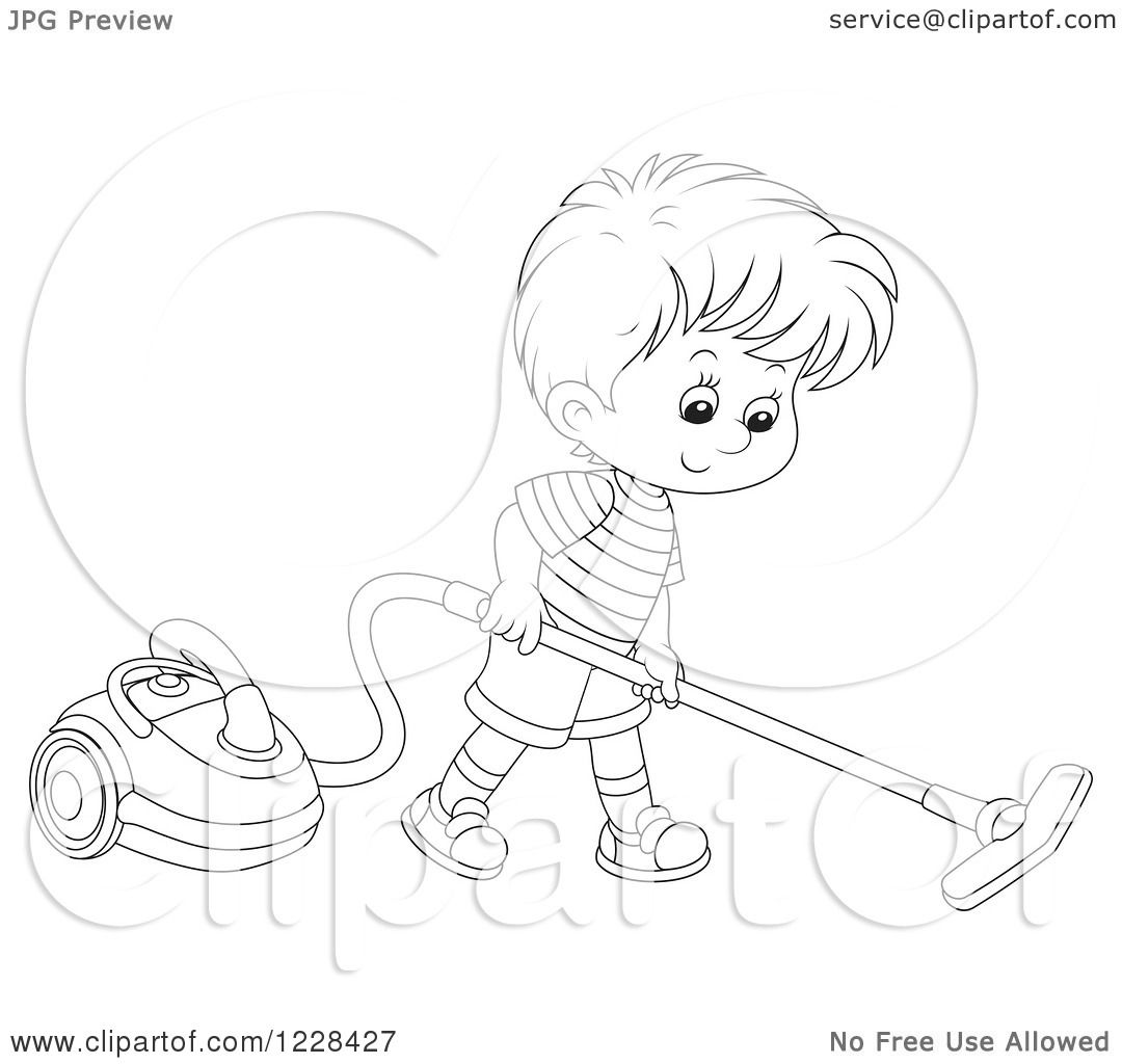 Coloring pages vacuum cleaner - Clipart Of An Outlined Boy Using A Canister Vacuum Royalty Free Vector Illustration By Alex Bannykh