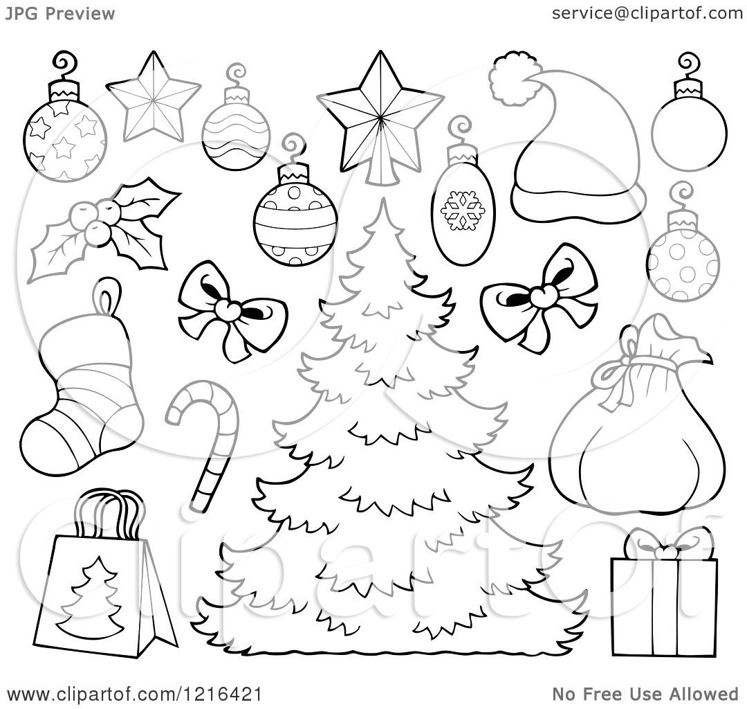 Clipart of an Outlined Christmas Tree with Decorations and ...