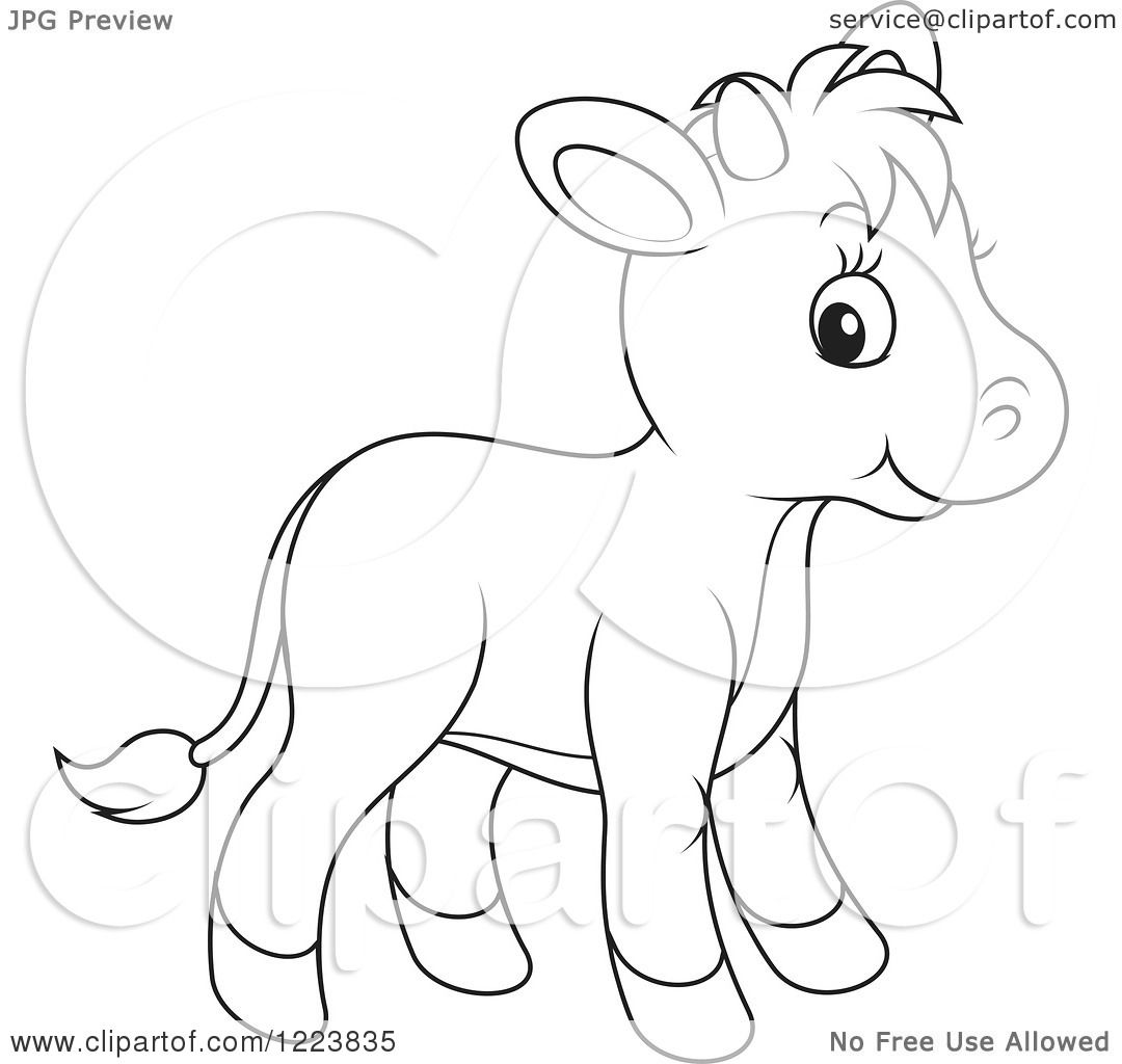 cute calf coloring pages | Clipart of an Outlined Cute Baby Calf Cow - Royalty Free ...