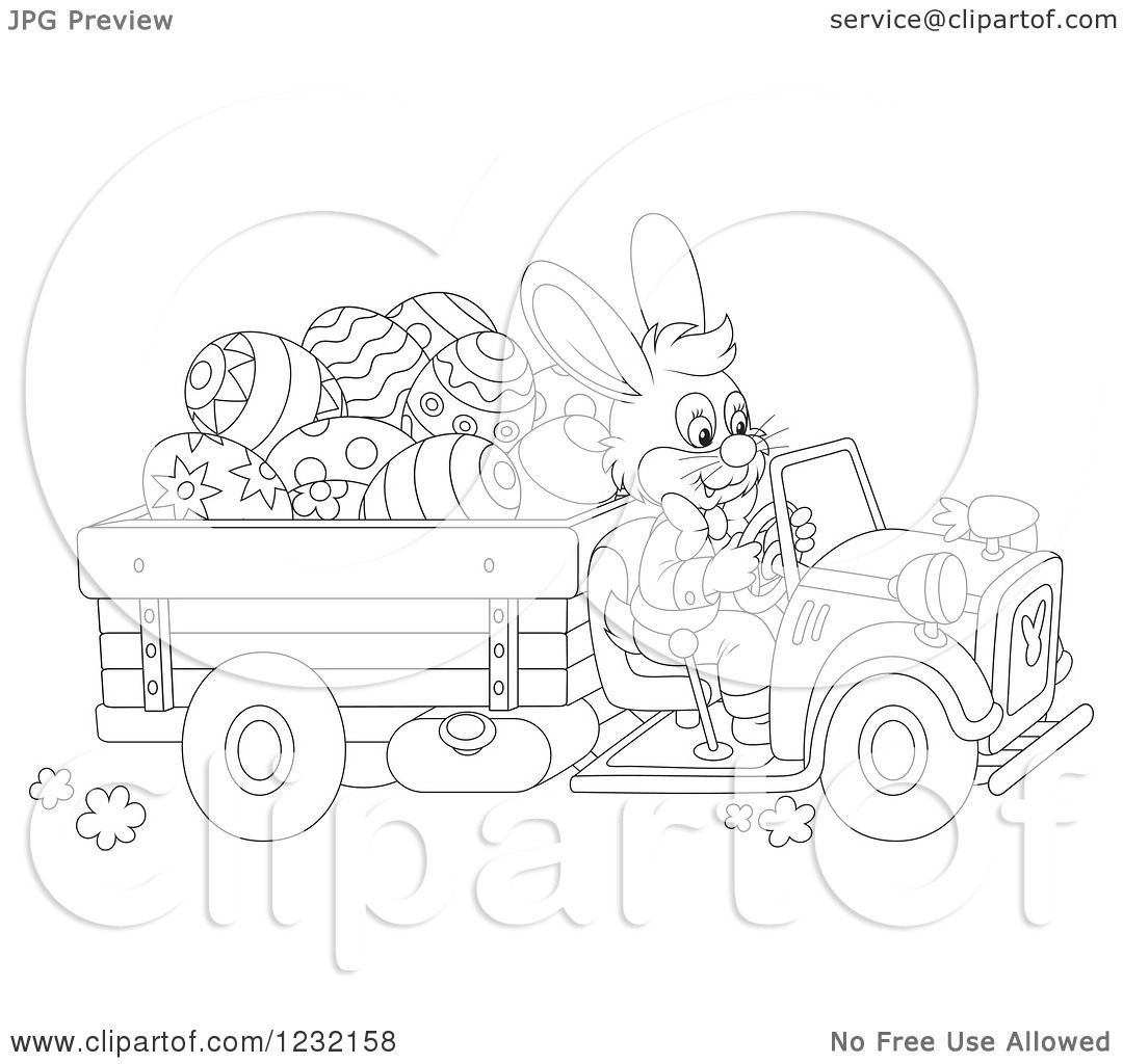 Clipart Of An Outlined Easter Bunny Driving A Truck Full