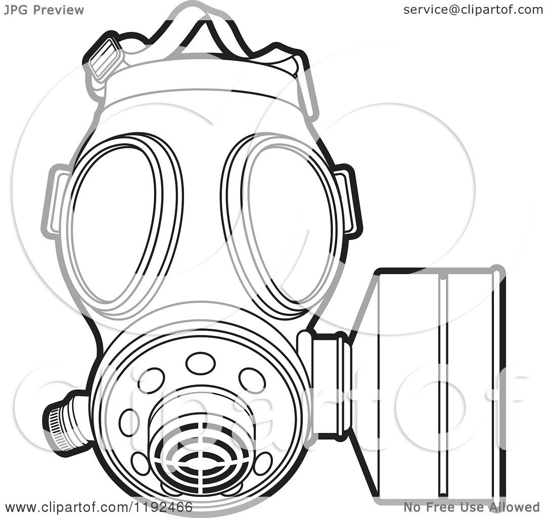 Clipart of an Outlined Gas Mask - Royalty Free Vector Illustration ...