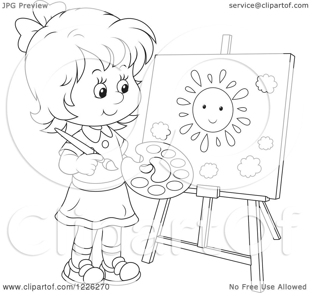 Clipart of an Outlined Girl Painting a Sun on a Canvas ...