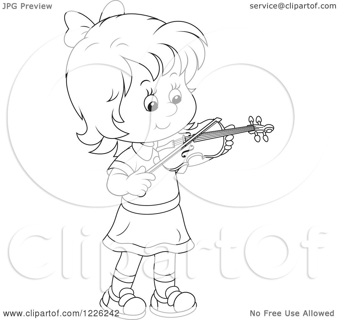 Boy Playing Violin Drawing an Outlined Girl Violinist
