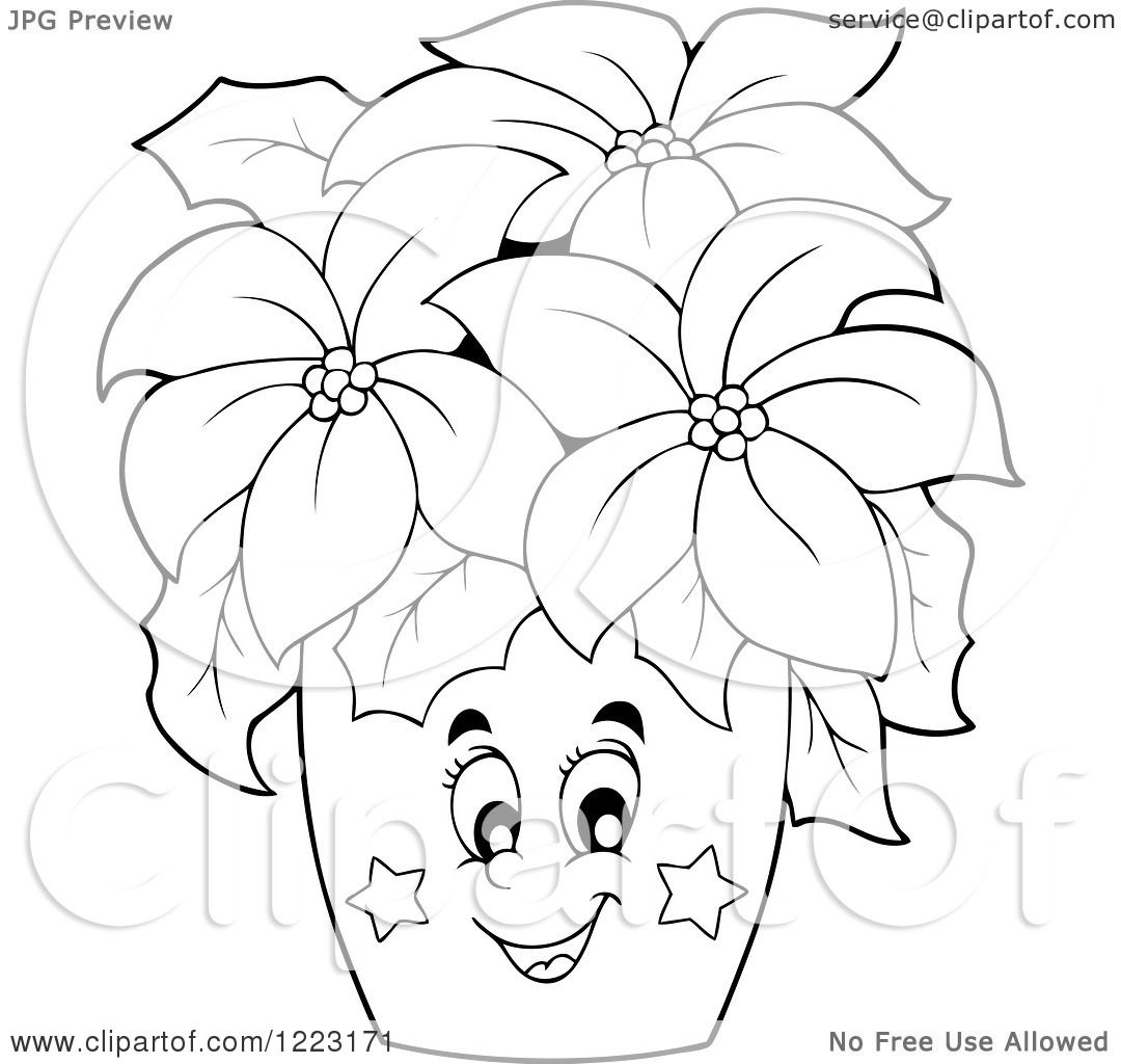 Clipart of an Outlined Happy Poinsettia Plant - Royalty Free ...