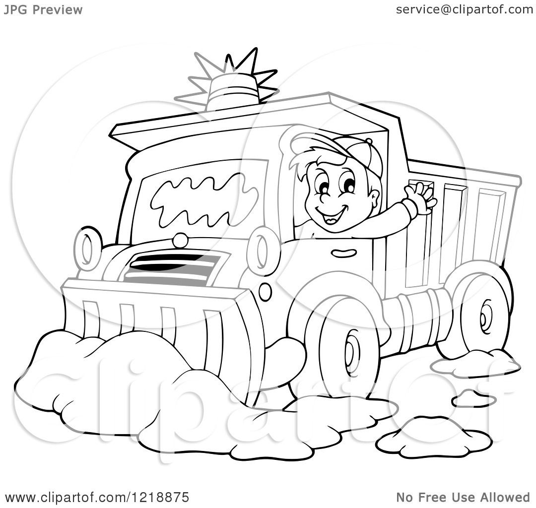 Clipart of an Outlined Happy Snow Plough Driver Waving - Royalty ...
