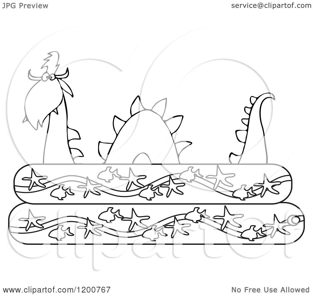 Clipart of an Outlined Loch Ness Monster Plesiosaur ...
