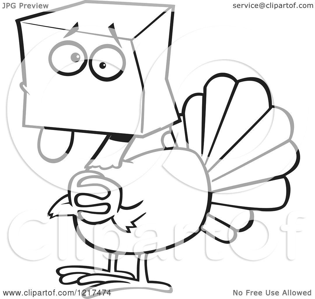 clipart of an outlined scared cartoon turkey bird hiding under a